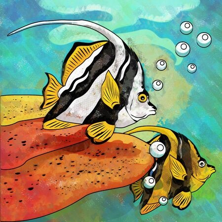 Fishes in aquarium. Bright colorful watercolor illustration. Stock Photo