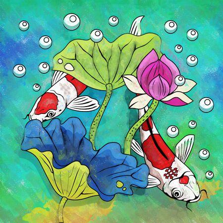 barbus: Fishes in aquarium. Bright colorful watercolor illustration. Stock Photo
