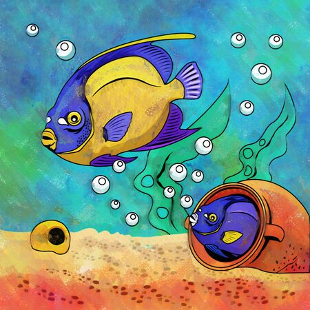 fighting fish: Fishes in aquarium. Bright colorful watercolor illustration. Stock Photo