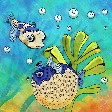 Fishes in aquarium. Bright colorful watercolor illustration. Stock Photo