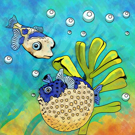mollienesia: Fishes in aquarium. Bright colorful watercolor illustration. Stock Photo
