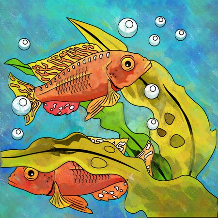 zebrafish: Fishes in aquarium. Bright colorful watercolor illustration. Stock Photo