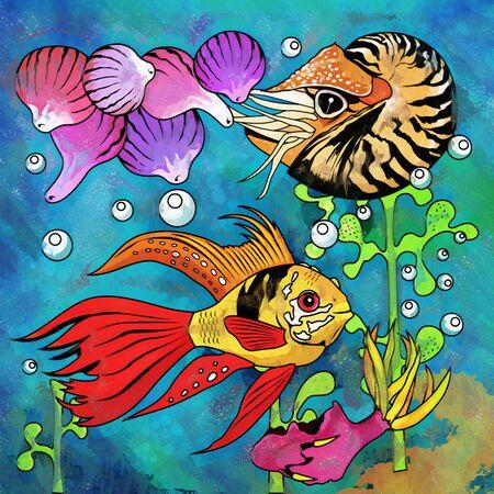 danio rerio: Fishes in aquarium. Bright colorful watercolor illustration. Stock Photo