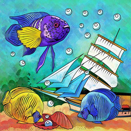 zebrafish: Fishes in aquarium. Bright colorful watercolor illustration. Stock Photo