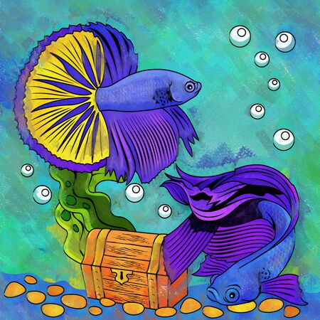 ichthyology: Fishes in aquarium. Bright colorful watercolor illustration. Stock Photo