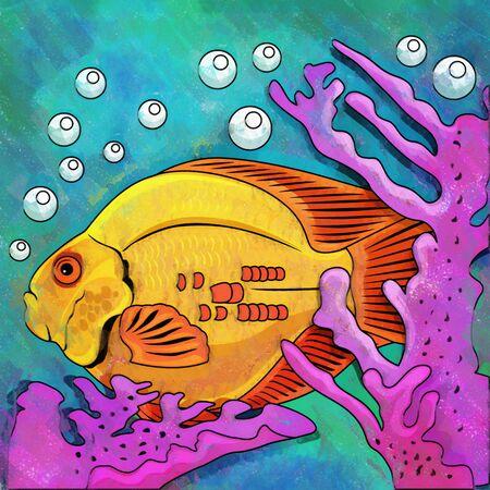 danio rerio: Fish in aquarium. Bright colorful watercolor illustration.