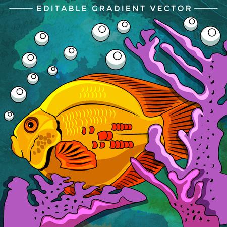 Fish in aquarium. Bright colorful vector illustration. Illustration