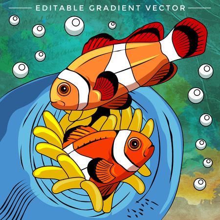 neon tetra: Fishes in aquarium. Bright colorful vector illustration.
