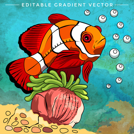 Fish in aquarium. Bright colorful vector illustration. Illustration