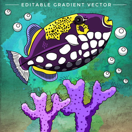 ichthyology: Fish in aquarium. Bright colorful vector illustration. Illustration