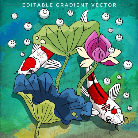 danio rerio: Fishes in aquarium. Bright colorful vector illustration.