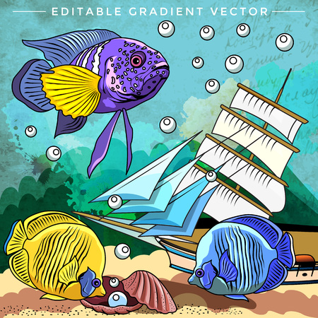 mollienesia: Fishes in aquarium. Bright colorful vector illustration.