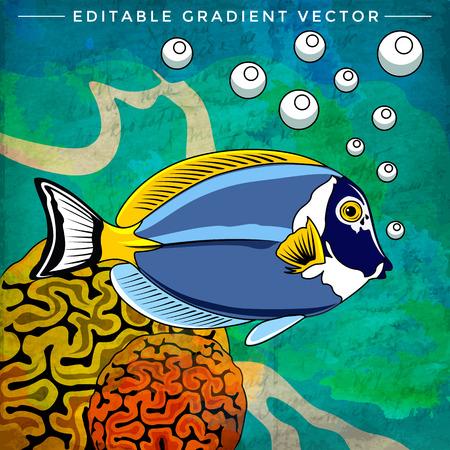 neon tetra: Fish in aquarium. Bright colorful vector illustration. Illustration