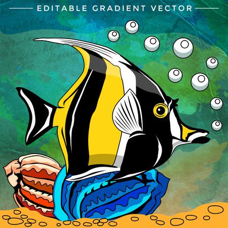 水槽の中の魚します。明るいカラフルなベクター イラストです。
