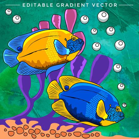 neon fish: Fishes in aquarium. Bright colorful vector illustration.