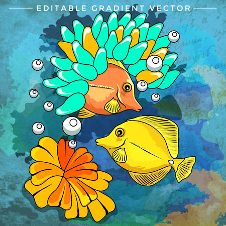 ichthyology: Fishes in aquarium. Bright colorful vector illustration.