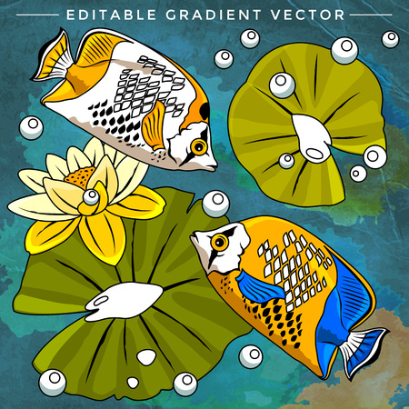 zebrafish: Fishes in aquarium. Bright colorful vector illustration.