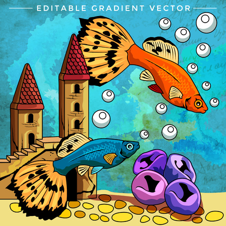 Fishes in aquarium. Bright colorful vector illustration.