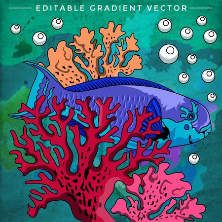 zebrafish: Fish in aquarium. Bright colorful vector illustration. Illustration