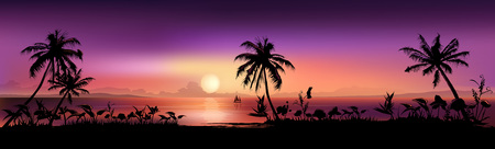 sunset beach: Purple tropical sunset. Vector gradient mesh background. Illustration