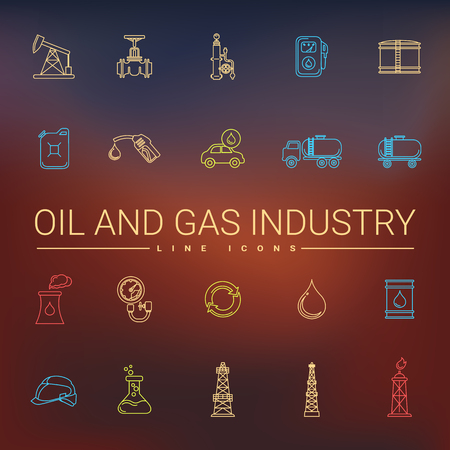 oil and gas industry: Oil and gas industry line icons set.