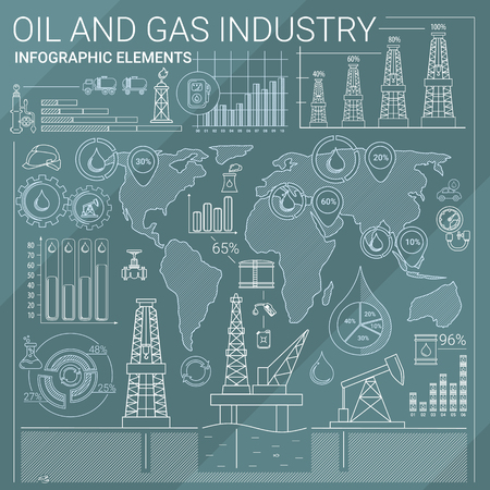 oil industry: Oil and Gas line style infographic elements.