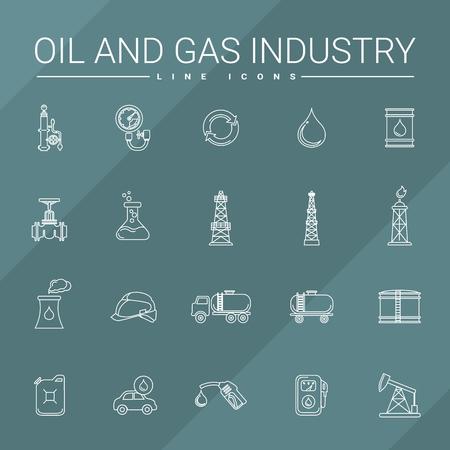 oil and gas industry: Oil and gas industry line icons set.