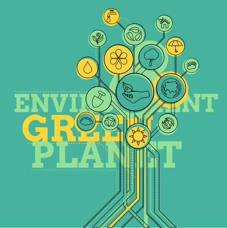 green environment: Ecology infographic elements and icons tree. Environment, Green Planet