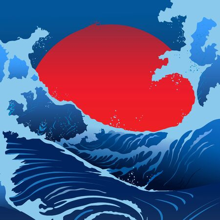 red sun: Blue waves and red sun in the Japanese style. Vector background