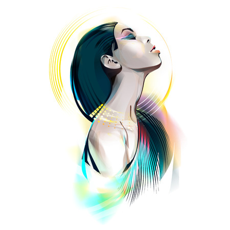 The girl in the image of the Egyptian goddess. Watercolor vector illustration Stock Photo