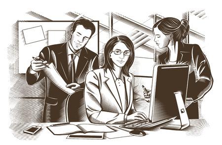 personas reunidas: Los socios comerciales discutir documentos e ideas en la reunión de la ilustración.