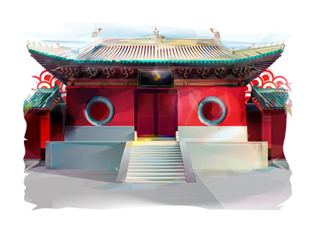 nice house: Red chinese temple on white background, watercolor illustration