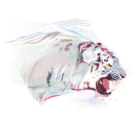 White tiger on a white background. Watercolor illustration