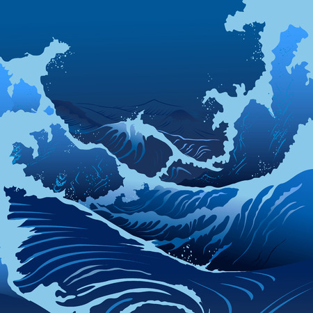 blue sea: Blue waves in the Japanese style.