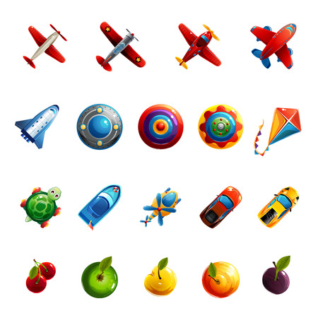 Kids toys and objects icons set.
