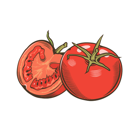 Tomatoes in vintage style Stock Photo