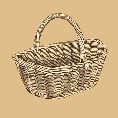 woodcut: Vintage Basket In Woodcut Style