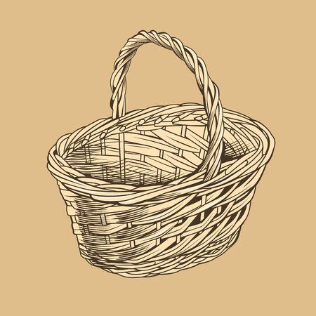 wicker: Vintage Basket In Woodcut Style