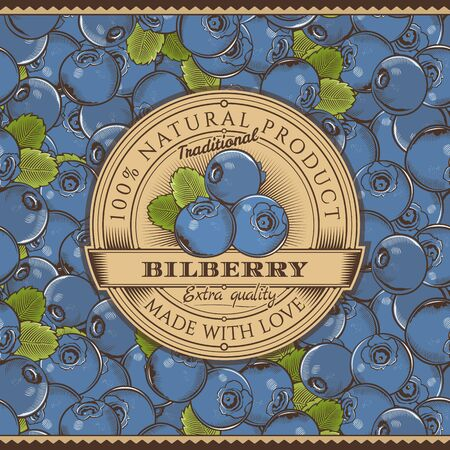 whortleberry: Vintage Bilberry Label On Seamless Pattern