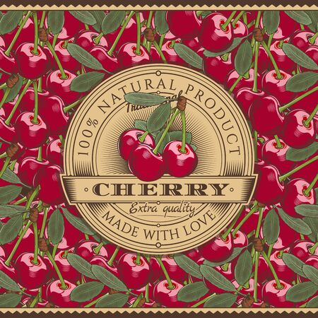 Vintage Cherry Label On Seamless Pattern  イラスト・ベクター素材