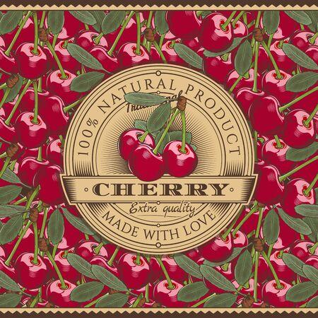 Vintage Cherry Label On Seamless Pattern Illustration