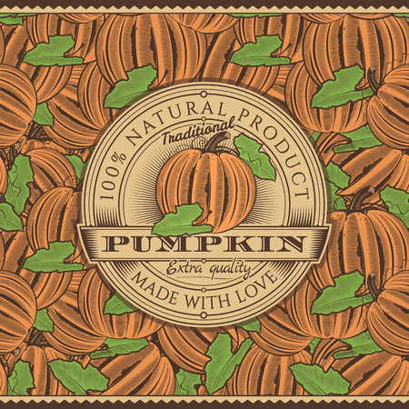 Vintage Pumpkin Label On Seamless Pattern