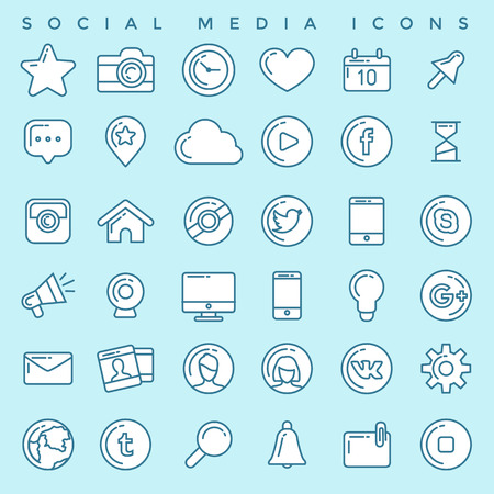 Social Media Icons Set Stock Vector - 78544806