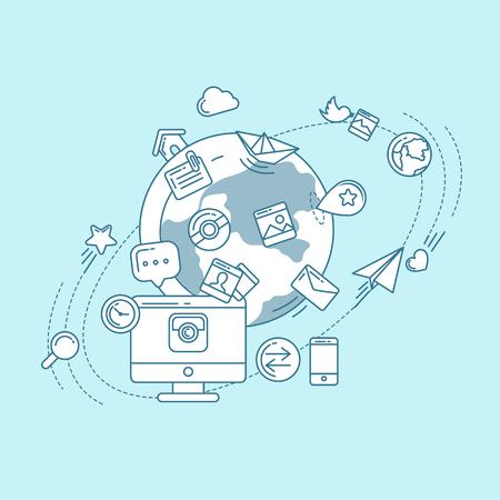 mobile apps: Social Media Blue Linear Illustration