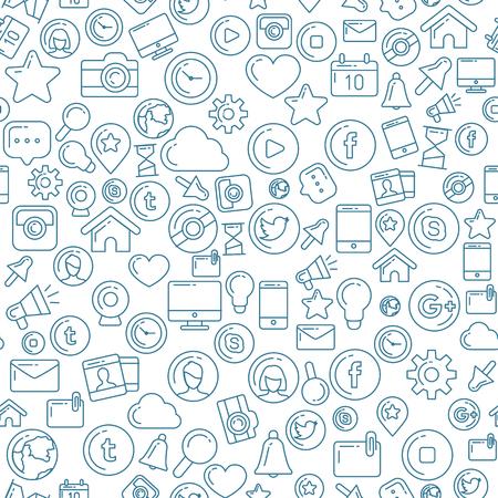 Social Media Blue Seamless Pattern Illustration