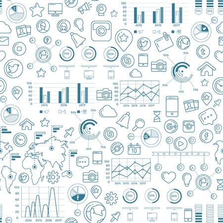 Social Media Blue Seamless Pattern 向量圖像