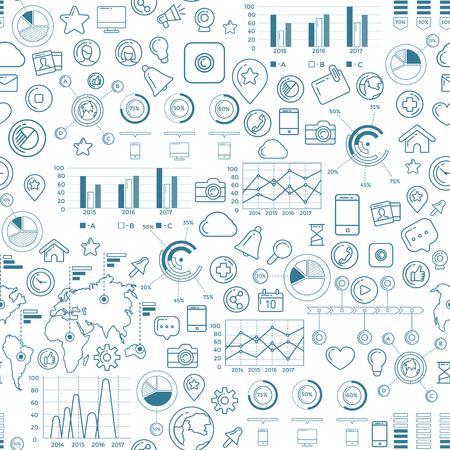 Social Media Blue Seamless Pattern Stock Photo