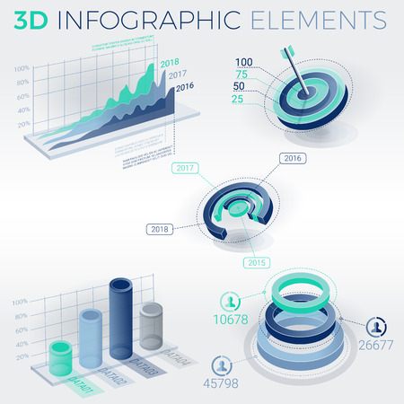 selling service: 3D Infographic Elements vector illustration