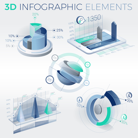 selling service: 3D Infographic Elements Illustration