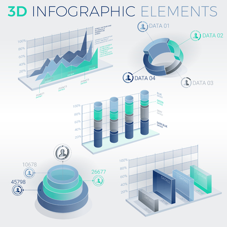 selling service: Infographic elements collection, corporate vector 3D illustration.